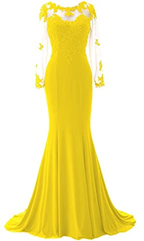 MACloth Women Elegant Mermaid Long Sleeve Wedding Gown Formal Prom Dress (38, Yellow)