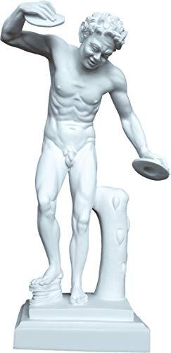 Statue Antike Griechische Mythologie Pan Spielt Becken (Dekorative Handgefertigte Alabaster 36cm)