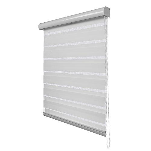 Fensterdecor Duo-Rollo Doppelrollo mit Aluminiumkassette / Weiß 120 x 230 (BxH) - 4