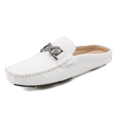Aisun Herren Bristisch Stil Freizeit Kunstleder Slip-On Slipper Low Top Mokassins Weiß
