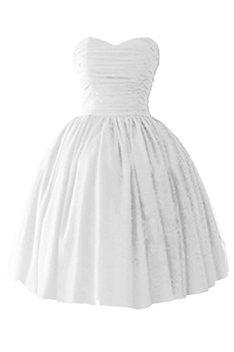 Victory bridal à coeur abendkleider court tuell promkleider ballkleider brautjungfernkleider en satin Blanc