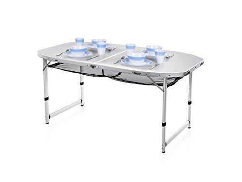 Campart tavolo da campeggio travel ta-0795 – 150 x 80 cm – pieghevole – alluminio