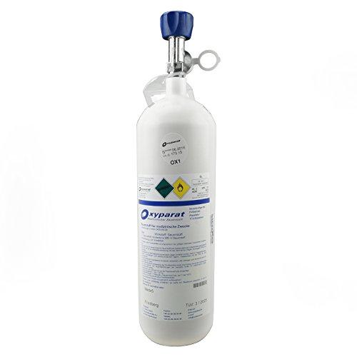 MedX5 TÜV geprüfte 3L Medizinische Sauerstoffflasche zur Inhalation mit Ventil, Leichtstahl befüllt von Oxyparat