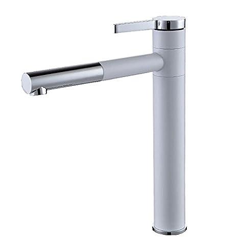 SSQCXO Mélangeur de lavabo moderne Poignée simple Robinet d'évier de salle de bains Finition chrome poli / Peinture blanche