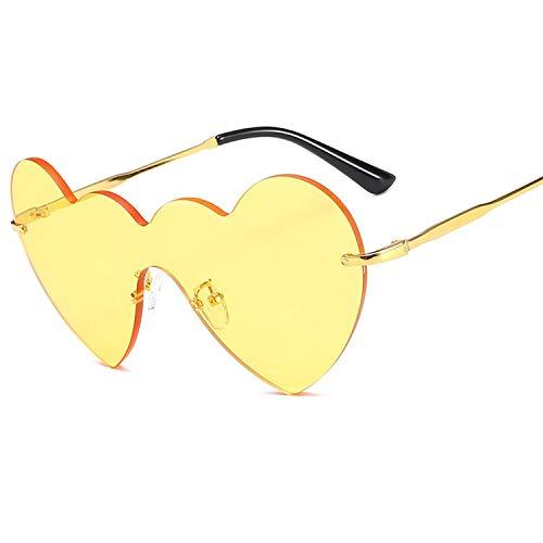 FIRM-CASE Art und Weise Frauen Siamese Liebes-Herz-Sonnenbrille-Männer Metall Frameless Sonnenbrillen Gradient Brille Rahmen, 2