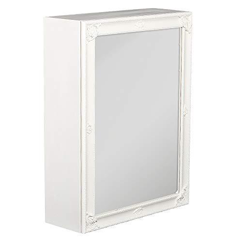 LEBENSwohnART Spiegelschrank MARA Weiß ca. 60x80cm Holz Badschrank Spiegel Barock Schiebetür