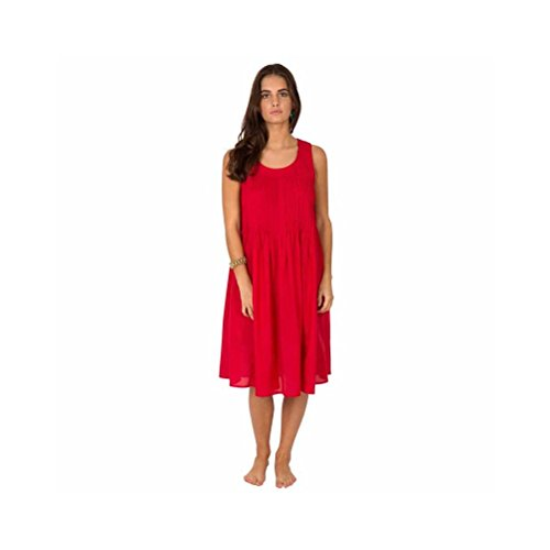 Zen*Ethic - Robe Plissée Sans Manche - Popeline de coton Rouge