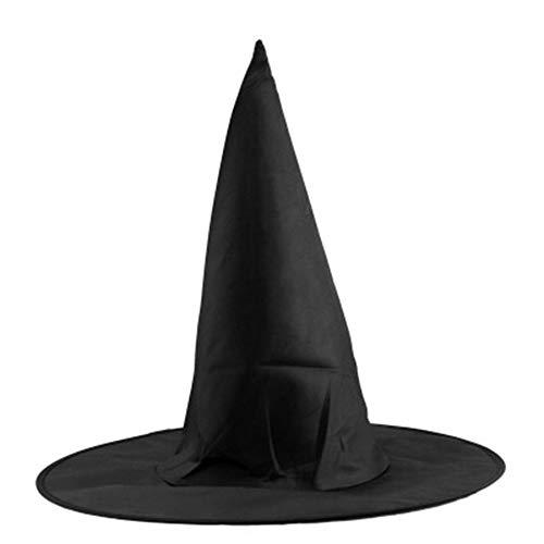 laonBonnie Halloween Oxford Tuch Hexe Zauberer Hut Zauberhut Zaubererkappen Partyspielzeug Cosplay Für Erwachsene Und Kinder Schwarzer Helm Hut - Schwarz