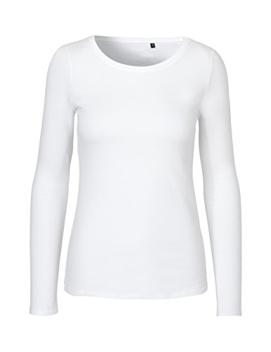 Green Cat- Damen Langarmshirt, 100% Bio-Baumwolle. Fairtrade, Oeko-Tex und Ecolabel Zertifiziert, Textilfarbe: Weiss, Gr.: M