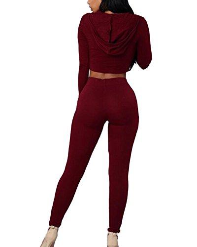 Auxo Femme 2PCS Survêtements Ensembles Sexy Col V Crop Tops à Capuche + 1 Pantalons Joggings Vin Rouge B