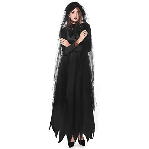 LOPILY Kostüme Damen Spitzen Vampire Kostüme mit Spitze Schleier Schwarzes Maxi Kleid Fashingskostüme Halloween Kleid Damen Karneval Hexenkostüm Damen Gothic Erwachsenenkostüme (Schwarz, - Kostüm Kleid Schwarz Last Minute