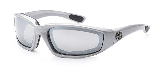 Moda Choppers Gangster Biker Schaumstoff gepolstert Matte Motorrad-Schutzbrille-Sonnenbrille 1 55 Mittel Silber Revo Mirrored