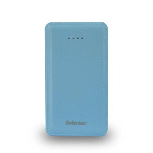 SELECTEC 10,000mAh Externer Akku 2-Ausgang Zusatzakku Tragbare Powerbank USB Ladegerät Pack für iPhone iPad iPod Samsung Smartphones Tablet-PCs - Blau Kabel Ipod Ladegerät