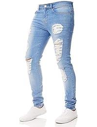 b80c2525c839a Pantalon en Denim pour Homme Trenchs Détruits Jean en Pantalon Único Stretch  Skinny Jeans en Jean