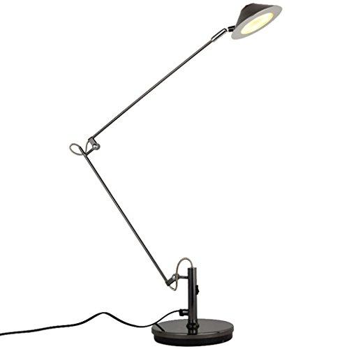 LED Schreibtischlampe Tischlampe verstellbare Arbeitsleuchte Schreibtischleuchte Tischleuchte verstellbar Schwenkarm mit Lampenschirm Schwarz A+ (Metallic-breite Schreibtisch)