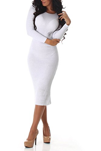 Enzoria Damen Kleid, ein wunderschönens, leicht glänzendes Strickkleid mit langen Ärmeln und Rundhalsausschnitt, in vielen Farben erhältlich,...