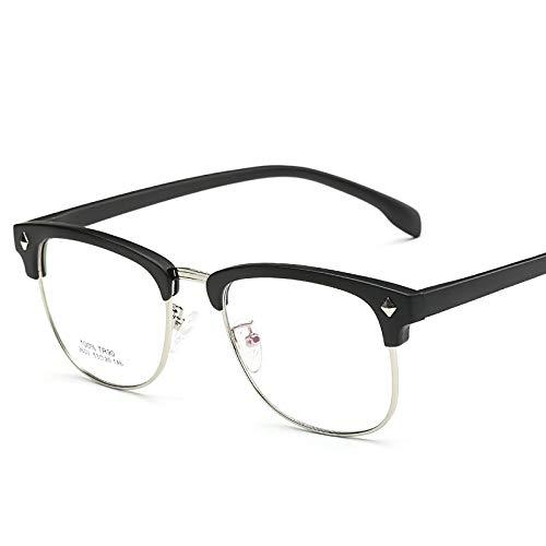 hanxniwm Koreanische Version der Retro-Halbbild Brillengestell Männer ultraleichten Schmuck Myopie Brillengestell weiblichen Augenschutz Gesicht kleine Brille