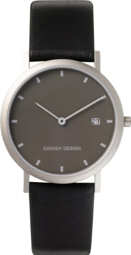 Danish Design Men's Quartz Watch with Grey Dial Analogue Display and Black Leather Strap DZ120007