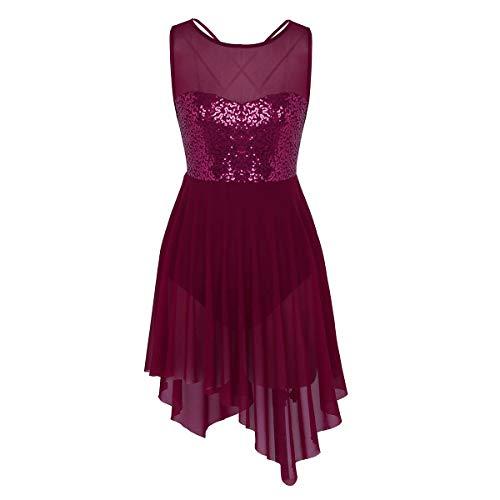 (Freebily Damen Mädchen lyrisch Tanzkleid Tanz-Body Tanz Trikot Pailletten Asymmetrische Ballettanzug Ballett Kleid Kostüm mit Faltenrock Weinrot Small)