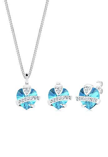 Elli Damen-Schmuckset Anhänger Halskette und Ohrstecker Herz 925 Sterling Silber 0.001 Karat Swarovski Kristall Blau 45cm - 0901641713_45