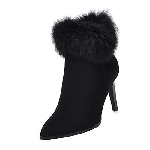 46e103e4a2c0 Uirend Winter Stiefeletten Flat Fell Gefütterte Schneestiefel - Elegante  Damen High Heel Schneestiefel Hoher 8 cm Absatz Warm Stiefel Reißverschluss  Schuhe ...