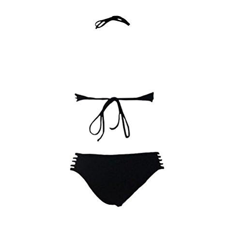 PU&PU Damen Halfter Bikinis High Neck Zwei Stück Set Badeanzug Hollow Wireless Gepolsterte BH Polyester Black