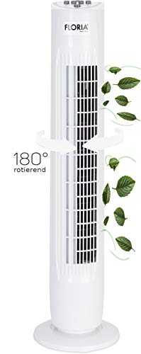 Turmventilator | Ventilator | Oszillierend | Leise | 3 Stufen | Tower-Ventilator | Standventilator | Säulenventilator | Luftkühler | Weiß | Bodenventilator | Timer | Leiser Betrieb |