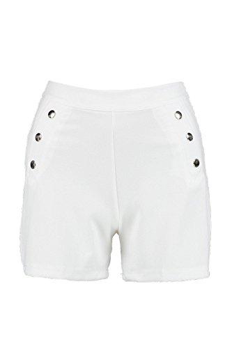 Femmes Ivoire Jen Button Detail High Waist Shorts Ivoire