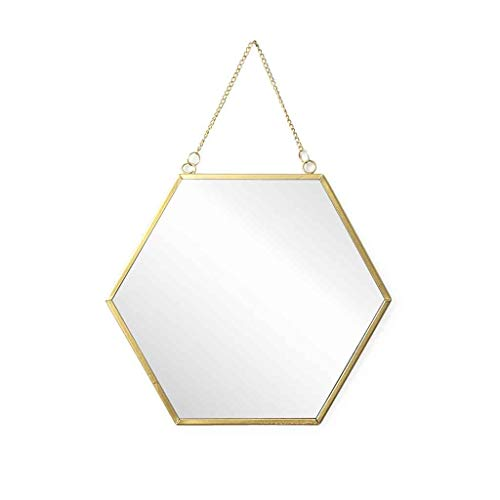 Espejo pared de pared decorativo hexagonal Mirror, metálico, estilo étnico & boho chic, nórdico...