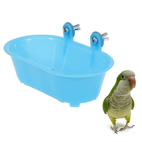 POPETPOP Papagei badewanne mit Spiegel Kunststoff langlebig liebenswert Vogel badewanne duschwanne reinigungswerkzeug für Canary Budgies papagei kleine bräute Baden -