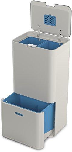 *Joseph Joseph 30021 Totem Recycling-Systemeinheit, 58 L, Metall, 40 x 30 x 80 cm, steinfarben*