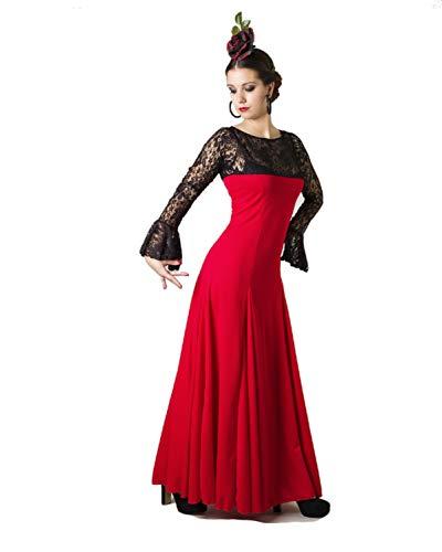 Anuka Traje Profesional de Danza Flamenco para Mujer. Vestido con Manga y Escote a la Caja en blonda elástica. Fabricado en España (Rojo/Negro, XL)
