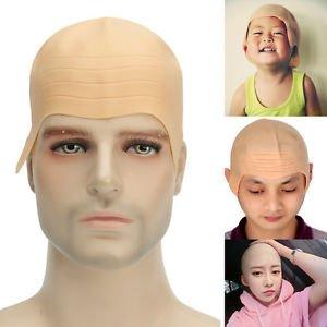 Lollipop Clothing Fancy Dress Latex Skin Bald Cap Baldie Head Bane Dr Evil Old Man Halloween