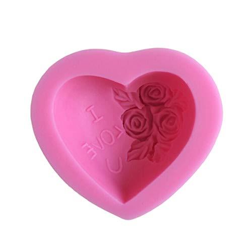 Qinlee Liebevolles Herz Rose Blumen Silikon-Form zum Backen Basteln für Kuchen Muffins Handgefertigte Seife Kekse Schokolade Eiswürfel 3D Mould (Form Kuchen Herz Silikon)