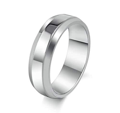 Beydodo Edelstahl Ring für Herren Glatt Rund Weiß -