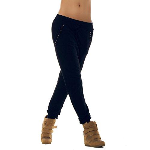 Toocool - Pantaloni donna tuta fitness pants sport pizzo cavallo basso harem nuovo AS-2254[Blu scuro,Taglia unica]