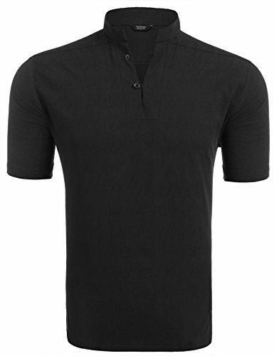 COOFANDY Leinenhemd einfarbig Herren Kurzarm Poloshirt mit Stehkragen cooles T-Shirt Sommer Strand Party Club casual Shirts