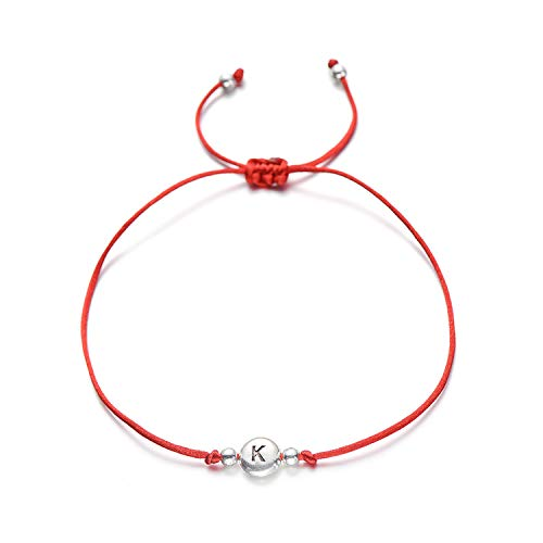 OU1CHAIN Armreif, Handmade Red Thread String Rope 26 Letter Beads Bracelet for Women Men Silver Color Initials Name Bracelets Couple Jewelry X red Rope -
