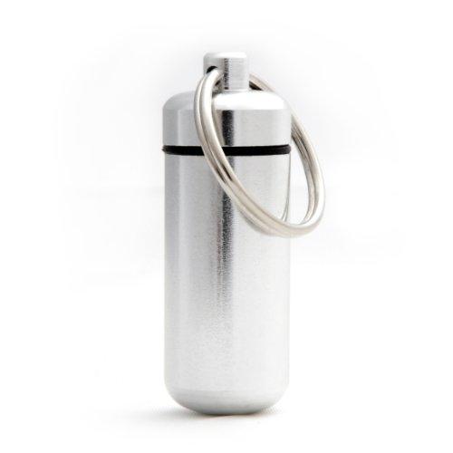 Ganzoo - piccola scatola porta pillole, impermeabile, per conservare piccoli oggetti, con portachiavi con chiusura a vite (rondella in gomma), altezza: 45 mm, materiale: alluminio, colore: argentato