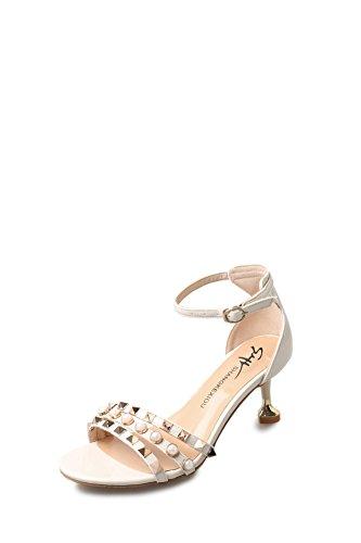 Sommer gummi reines glas mit sandalen/Open toe high heel sandalen A