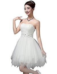 91decf6b8 XFentech Vestido de Dama de Honor para Mujer - Sin Mangas Corto Vestido  Elegante de Boda Fiesta Princesa Múltiples…