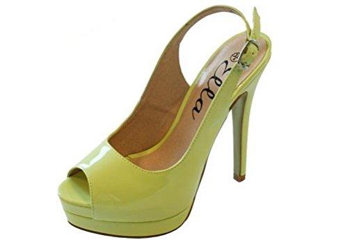 Donna Pretty brevetto Slingback Sandali Tacco Alto sera Mint Green patent