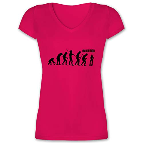 Evolution - Cowgirl Evolution - XL - Fuchsia - XO1525 - Damen T-Shirt mit V-Ausschnitt (Up Cowgirl T-shirts)
