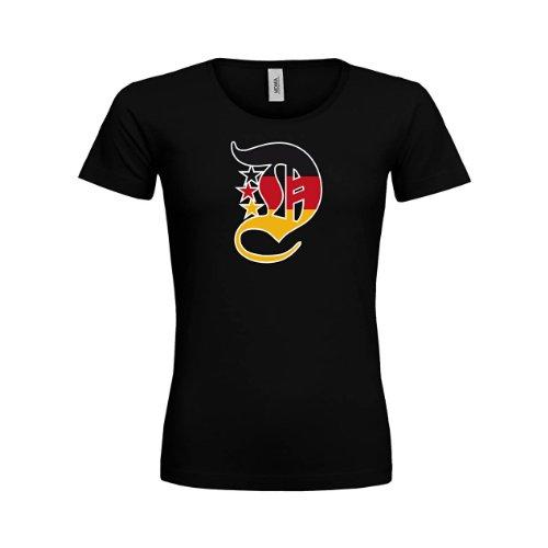 MDMA Frauen Premium T-Shirt Altdeutsches D in schwarz rot gold mdma-ftp00003-10 Textil black/Motiv...