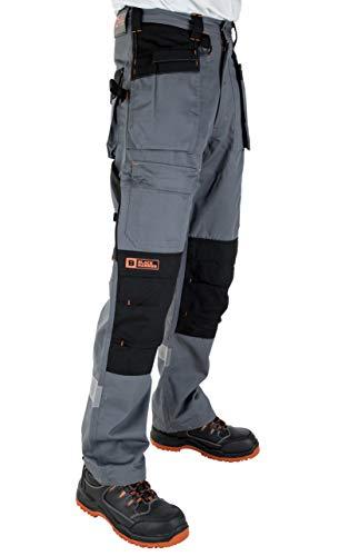 Black Hammer Pantalon de Travail pour Hommes, Ultra Solide avec Multiples Poches, triples Coutures Cordura pour renforcer Les Points de contrainte, Poche Genou rembourrée (44 Courtes,Gris)