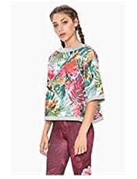 ab548b238051c Desigual - Sweat-Shirt - Manches Courtes - Femme Multicolore Multicolore