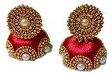 Handi Crafts Red Silk Thread Jhumki Earr...