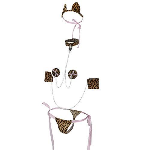 Hunde Alte Kostüm Dame - Leopard-Print sexy Dessous sexy Unterwäsche Frauen Erwachsenen Dreipunkt-Stil mit Zubehör, Rollenspiele Leopard Eine Größe