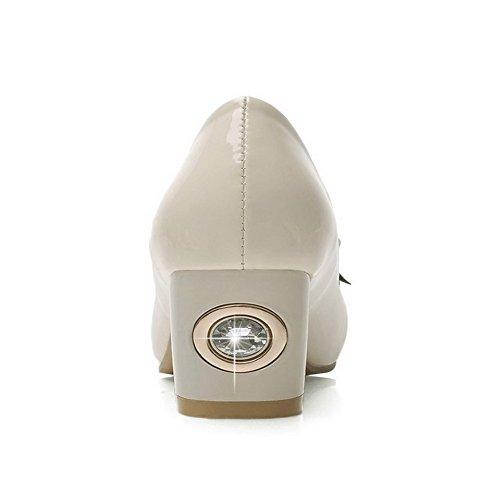 AllhqFashion Femme Tire à Talon Correct Pu Cuir Mosaïque Carré Chaussures Légeres Beige