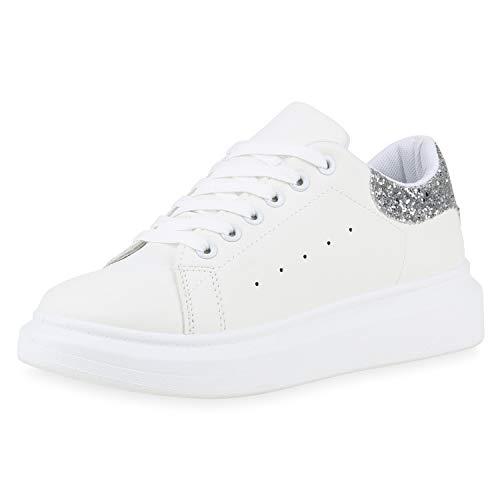 SCARPE VITA Damen Plateau Sneaker Basic Turnschuhe Schnürer Plateauschuhe 173922 Weiss Silber Glitzer 41